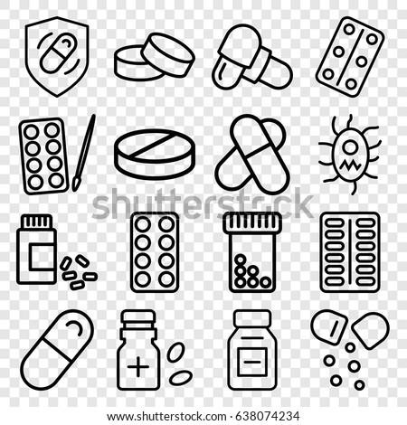 pill icons set set of 16 pill