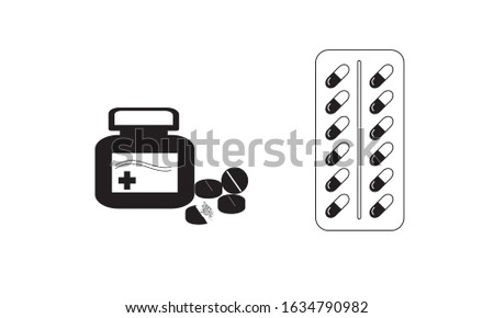Pill icons set. set of pill outline icons such as, tablet, pill, medical bottle, medicine bottle, medicine