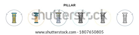 Pillar icon in filled, thin line, outline and stroke style. Vector illustration of two colored and black pillar vector icons designs can be used for mobile, ui, web Stockfoto ©