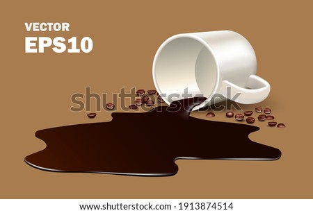 pilled americano coffee from a cup causing the aroma to rise with the air  for advertising concept design, vector design,Coffee beans and hot coffee spilled on the brown ground,liquid spilled 3d Stock foto ©