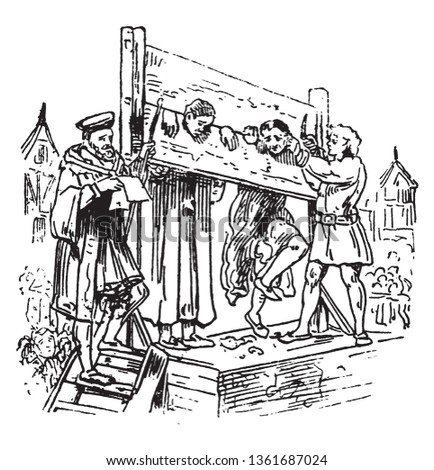Pillory is a wooden framework with holes for the head and hands in which an offender was imprisoned and exposed to public abuse, vintage line drawing or engraving illustration. Stockfoto ©