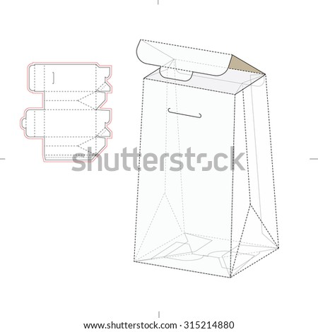 Royalty free six pack carrier box with die cut 344354048 stock pillow type retail box with die line template 315214880 pronofoot35fo Images