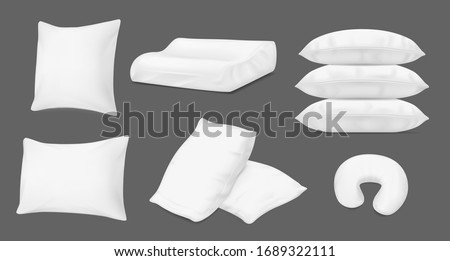 Pillows and bed cushions, vector realistic 3D white mockup templates. Inflatable travel cushion and orthopedic neck pillow, fluffy feather down pillows pile