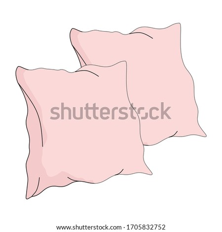 Pillows. Bedroom comfort symbol. Vector isolated illustration