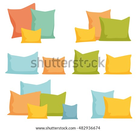 Pillows set. Comfortable bed cushion pillow isolated and vector bedding cloth isolated on white vector illustration.