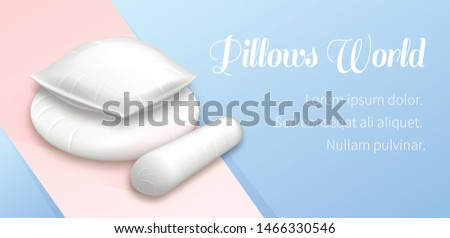 Pillows World Horizontal Banner Pile of White Cushions, Soft Blank Square, Round and Roll Cylinder Shaped Comfort Bed Pads for Sleep, Sweet Dreams and Rest, Realistic Realistic 3d Vector Illustration