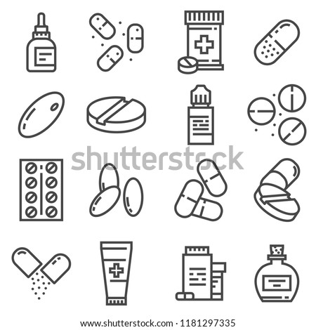 Pills and capsules icons set. Vector illustration. Pharmacy symbols. Eyedrops, Antidepressants, Pilule, Ointment and more #1181297335