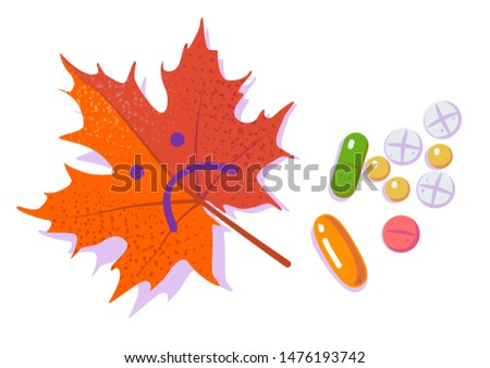 Pills and red sad leaf. Seasonal depression and Antidepressants. Autumn cold and flu. Season affective desorder. Flat vector illustration on white isolated background.
