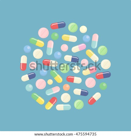 pills and tablets isolated on