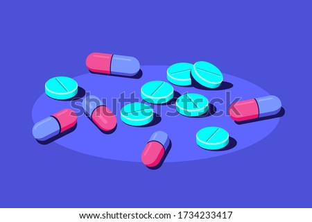 Pills and tablets of medical drugs on blue background. Healthcare, pharmacy, drug store concept banner. Medication, pharmaceutics concept. Flat style illustration. Stockfoto ©