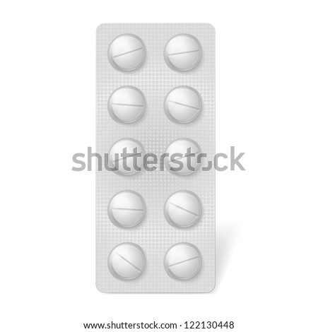 Pills blister pack. Illustration on white background