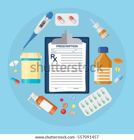 Shutterstock Pills bottles, tablets with medical prescription. Thermometer medicine, pill, drugs, capsules, clipboard with Rx. Vector illustration in flat style
