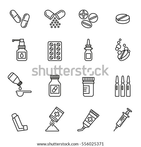 pills capsules and bottles icons vector set medical. Line Style stock vector.