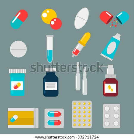 pills capsules icons vector
