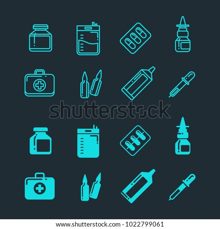 Pills, drugs, pharmacy medicine, medication line and silhouette icons set. Illustration of medication and medicine drug, pill and capsule vitamin