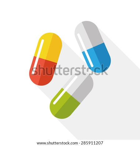 pills flat icon with long shadow