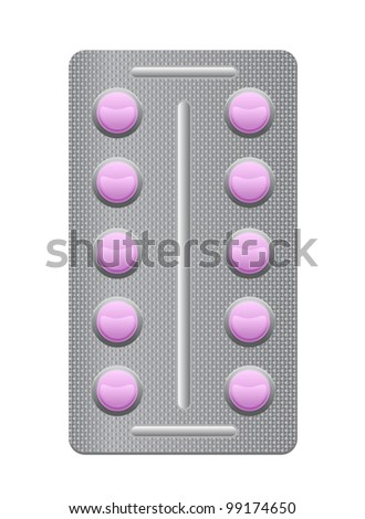 pills in a blister pack and isolated against white background