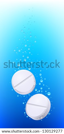 Pills in water. Illustration on white background for creative design - stock vector