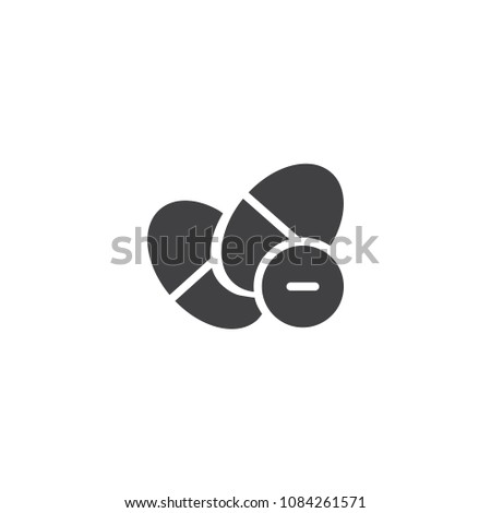 Pills minus vector icon. filled flat sign for mobile concept and web design. Medicine drugs simple solid icon. Symbol, logo illustration. Pixel perfect vector graphics