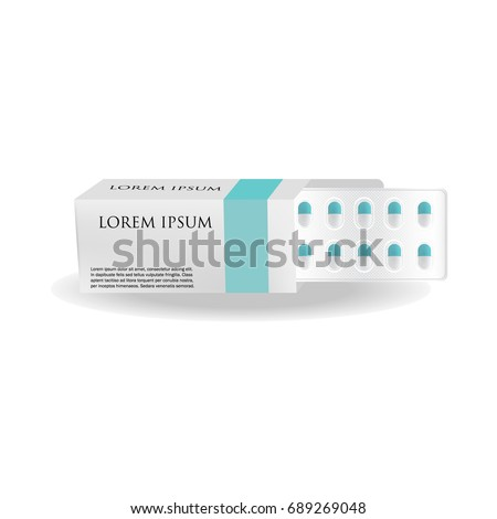 Pills or tablets package blister in open paper box. Blank design template of capsule treatment drugs with space for pharmacy medicine brand name, isolated on white background. Vector 3d illustration