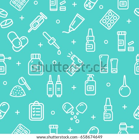 Pills Related Medical Pattern Background on a Blue for Pharmacy Medicine Science. Vector illustration
