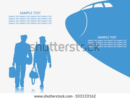 Pilot and stewardess background - vector illustration