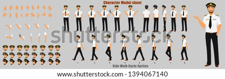 Pilot Character Model sheet with Walk cycle Animation. Flat character design. Front, side, back view animated character. character creation set with various views, face emotions,poses and gestures.
