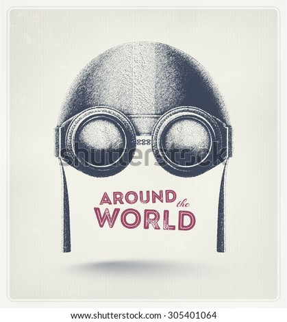 Pilot helmet and goggles, around the world, eps 10