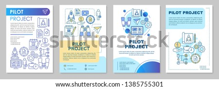 Pilot project brochure template layout. Startup. MVP. Flyer, booklet, leaflet print design with linear illustrations. Vector page layouts for magazines, annual reports, advertising posters