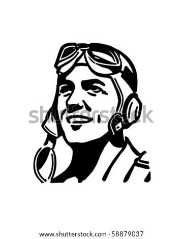 Pilot With Aviator Helmet - Retro Clip Art