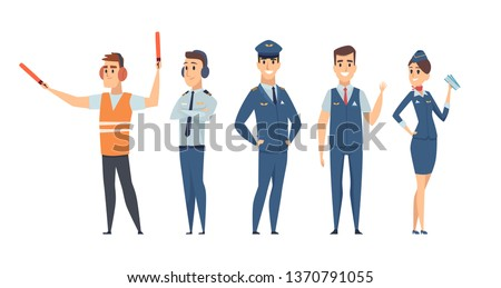 Pilots. Avia company persons crew pilots stewardess airplane command civil aviation vector characters in cartoon style