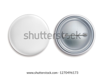 Pin badges. White round blank button, advertise metal 3d circle sign. Souvenir magnet badging mockup