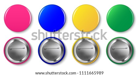 Pin button vector set. Pink, magenta, yellow, green, blue circle pin buttons isolated on white background.