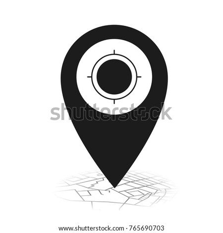 Pin icon my location on street map.vector illustration