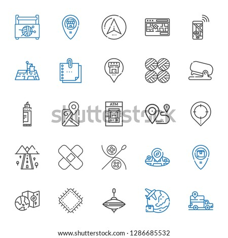 pin icons set. Collection of pin with gps, worldwide, whirligig, patch, placeholder, sewing, road, location, atm, google maps, marker, stapler. Editable and scalable pin icons.