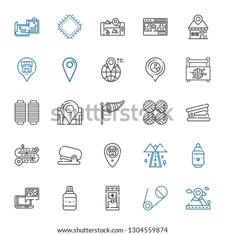 pin icons set. Collection of pin with placeholder, safety pin, atm, correction fluid, gps, marker, road, stapler, stapler remover, wool balls. Editable and scalable icons.