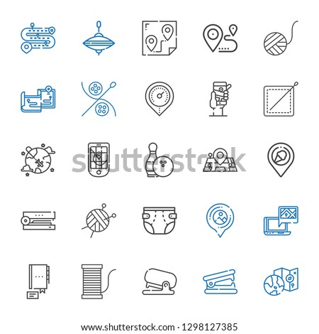 pin icons set. Collection of pin with worldwide, stapler remover, stapler, thread, contact, gps, placeholder, diaper, wool ball, place, maps. Editable and scalable pin icons.