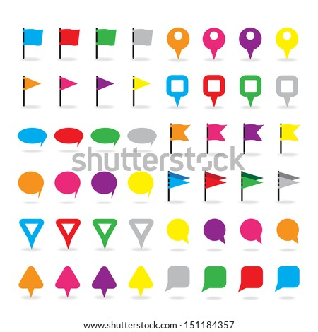 Pin Icons Set - Isolated On White Background - Vector Illustration, Graphic Design Editable For Your Design.