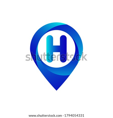 Pin location h letter logo.H letter location logo.Location, Map, Pin, Hotel Blue gradient logo with H letter.H letter logo