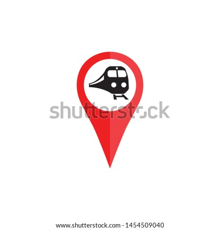 pin location train station icon of vector.