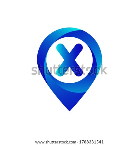 Pin location x letter logo.X letter location logo.Location, Map, Pin, Hotel Blue gradient logo with X letter.X letter logo