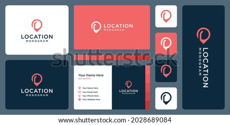 pin logo, location and initial letter r. business card design. Stock fotó ©