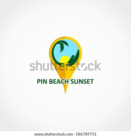 pin map beach sunset