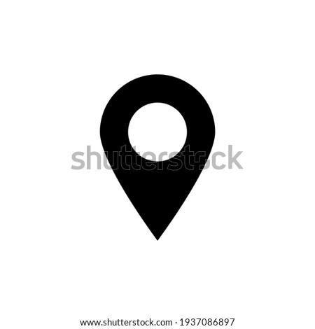 pin point icon. black map location symbol isolated on white background. vector illustration Photo stock ©