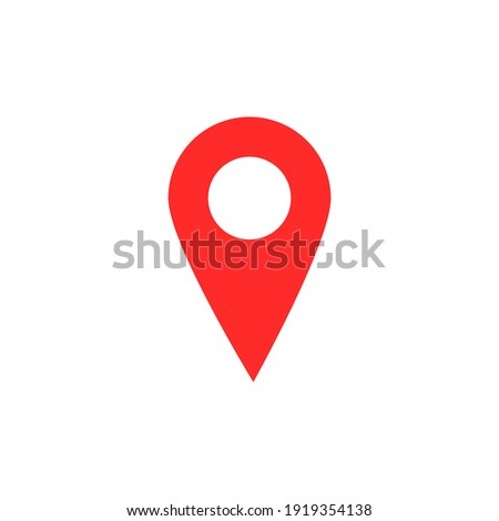 pin point icon. red map location pointer symbol isolated on white background Photo stock ©