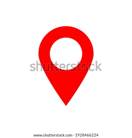 pin point icon. red map location pointer symbol isolated on white background Stock photo ©