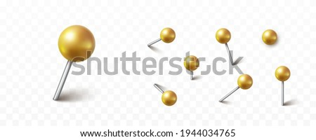 Pin set with shadow isolated on transparent background. Vector 3d gold plastic pushpins, metal sewing needles or golden board tacks for paper notice Stock photo ©