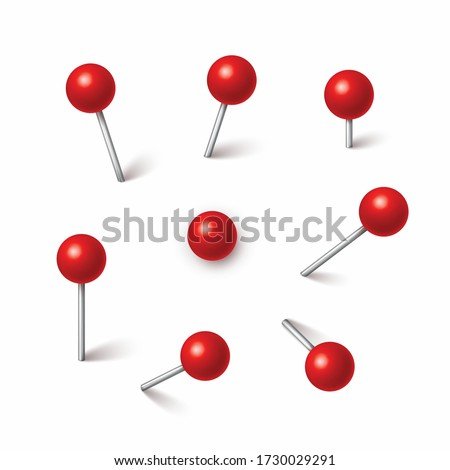 Pin set with shadow isolated on white background. Vector red plastic pushpin, 3d board tack, sewing needle or push pin for paper notice.