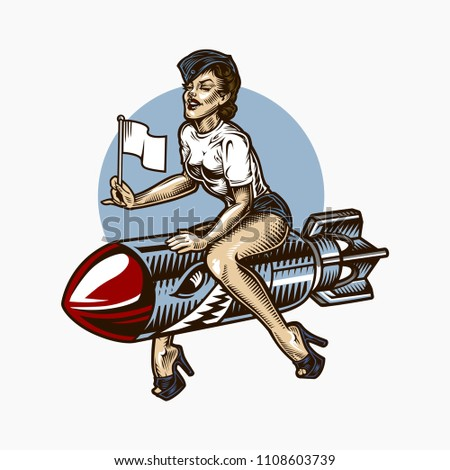 Pin Up girl bombing vector