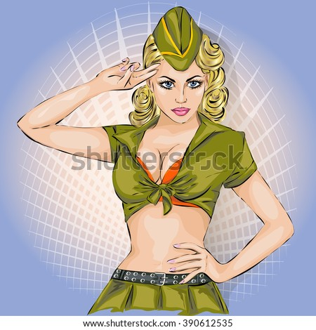 pin up sexy girl in military